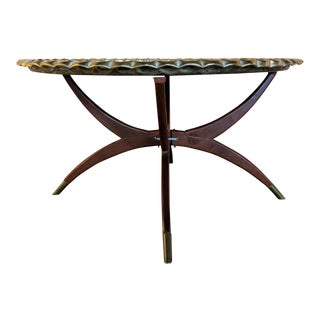 Vintage Spider Leg Coffee Table With Removable Ornate Brass Tray For Sale