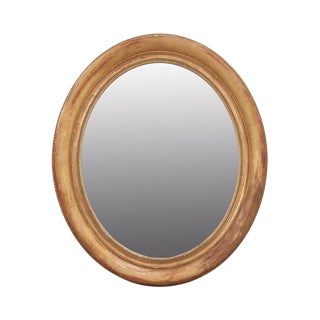 French 19th Century Louis XVI-Style Oval Giltwood Mirror For Sale