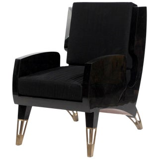 Saint Germain Armchair in Black Pen Shell & Bronze-Patina Brass by R&y Augousti For Sale