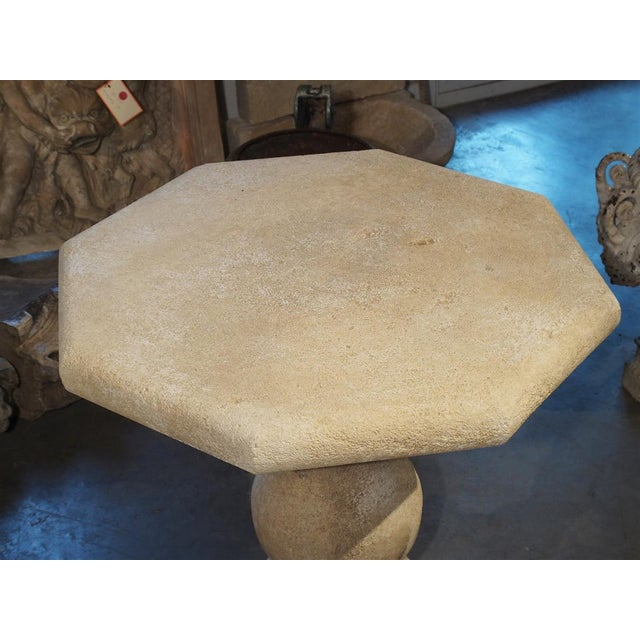 Early 21st Century Carved Octagonal Stone Side Table From Provence, France For Sale - Image 5 of 10
