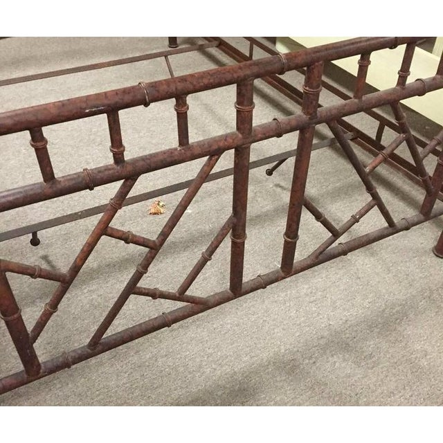 Asian Vintage Chinese Chippendale Faux Bamboo Metal Canopy Queen Sized Bed For Sale - Image 3 of 7