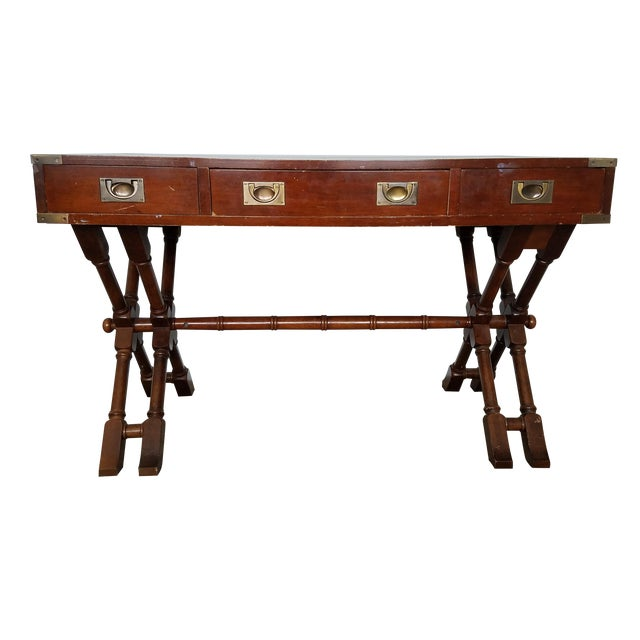 Campaign Style Double X Base Writing Desk - Image 1 of 11