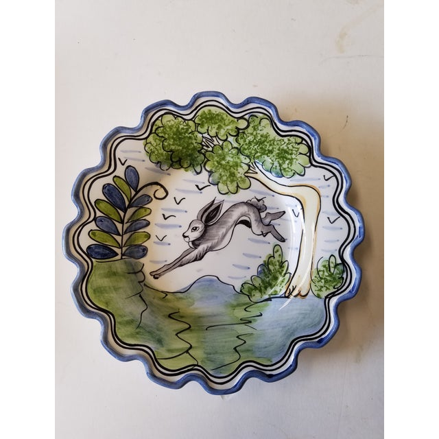 """Cottage Charming Vintage Portuguese Hand-Painted """"Le Lapin"""" Scalloped Plate For Sale - Image 3 of 3"""