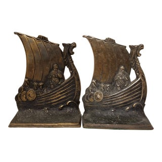 Viking Themed Solid Brass Bookends For Sale