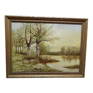 Vintage Landscape Painting of a Wooded Lake Scene