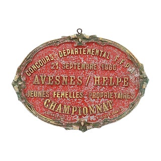 1966 French Equestrian Show Award Plaque For Sale