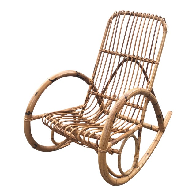 Franco Albini Bamboo Rocking Chair** For Sale