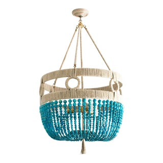 Ro Sham Beaux Turquoise and Gold Beaded Malibu Frankie Chandelier For Sale