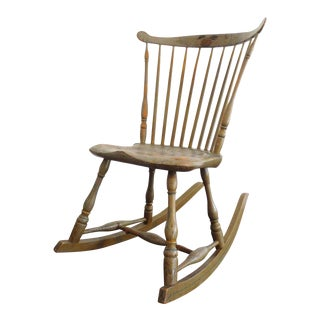 19thc Original Painted Sage Green Windsor Rocking Chair For Sale