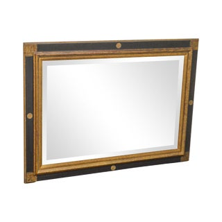 Regency Style Black & Gold Beveled Wall Mirror (B) For Sale