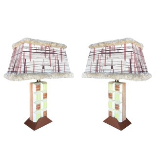 Mid-Century Frankl Inspired Combed Cubist Block Table Lamp, Pair For Sale