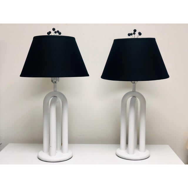Vintage Mid-Century Modern White Italian Tubular Table Lamps - a Pair For Sale - Image 9 of 9