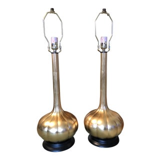 Gilded Gourd Lamps - a Pair For Sale