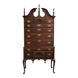 Late 20th Century Queen Anne Style Cherry Highboy For Sale