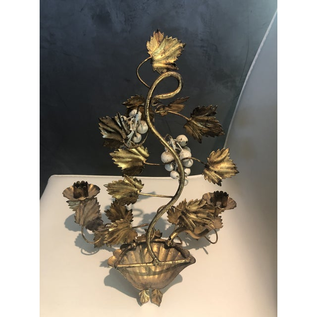1950s Gold Leaf and Cream Grapes Wall Hung Candleabra For Sale - Image 5 of 6