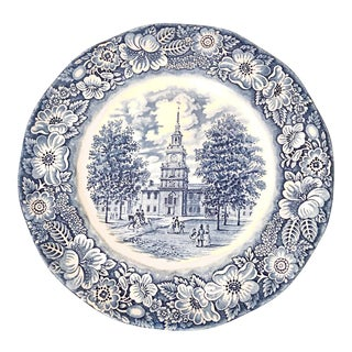 """English Staffordshire Style Liberty Blue """"Independence Hall"""" Decorative Plate For Sale"""