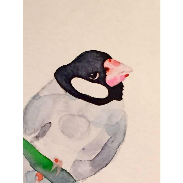 Contemporary Finch Watercolor Painting - Image 2 of 2