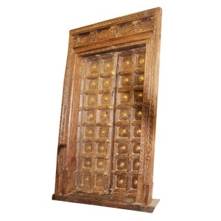 Indian Antique Teak & Brass Medallion Fish Carved Haveli Double Entry Doors For Sale
