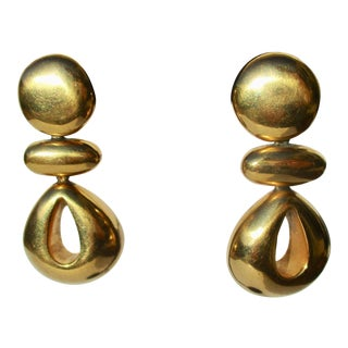 Modern Gold Plated Sculptural Drop Earrings For Sale