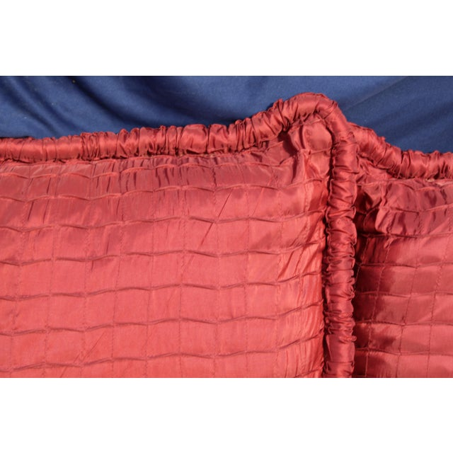 pr. of Contemporary ox blood colored down filled pillows
