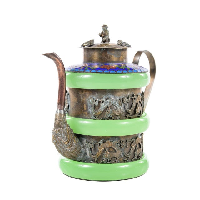 Chinese Antique Cloisonne & Jade Tea Pot | Chairish