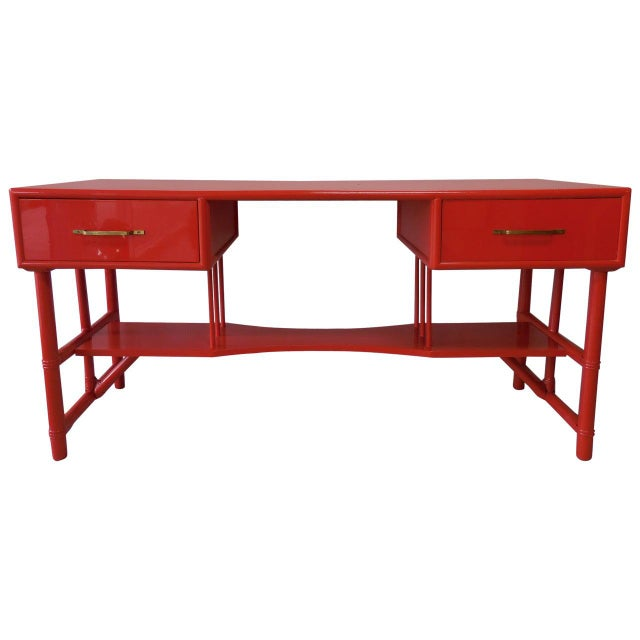 Slender Tommi Parzinger Attributed Desk for Willow and Reed For Sale - Image 10 of 10