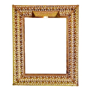 Vintage Reticulated Metal Lighted Picture Frame For Sale
