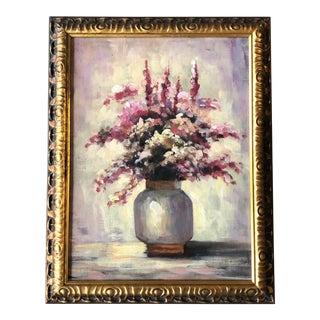 Original Vintage Still Life Floral Painting Original Frame For Sale