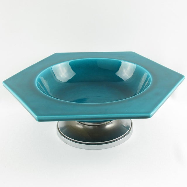 Paul Milet for Sevres Art Deco Turquoise Ceramic Bowl For Sale - Image 9 of 9