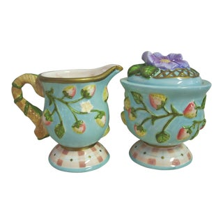 Vintage Silvester Cream & Sugar - a Pair For Sale