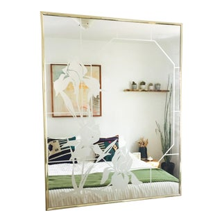 Vintage Art Glass Iris Mirror