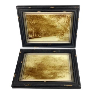 Rustic Framed Reversed Screen Prints on Glass - a Pair For Sale