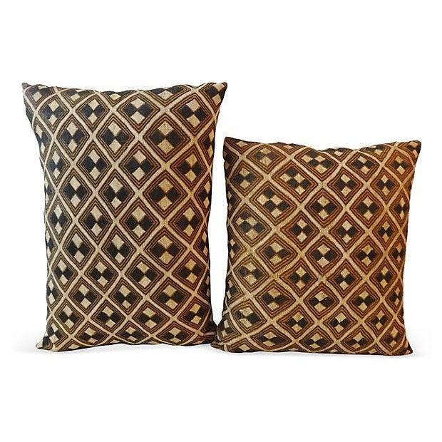 African Kuba Pillows - Pair - Image 3 of 5