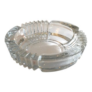 Vintage Art Deco Style Clear Glass Ashtray For Sale