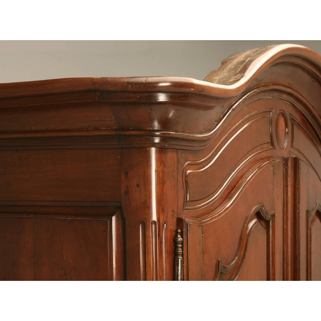 Louis XV Circa 1800s French Louis XV Style Cherry Wood Armoire For Sale - Image 3 of 10