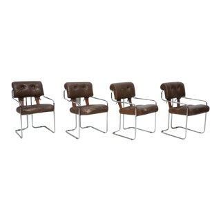 """Brown Leather """"Tucroma"""" Chair by Guido Faleschini for I4 Mariani, Set of Four For Sale"""