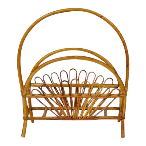 Vintage Bamboo Rattan Magazine Rack For Sale