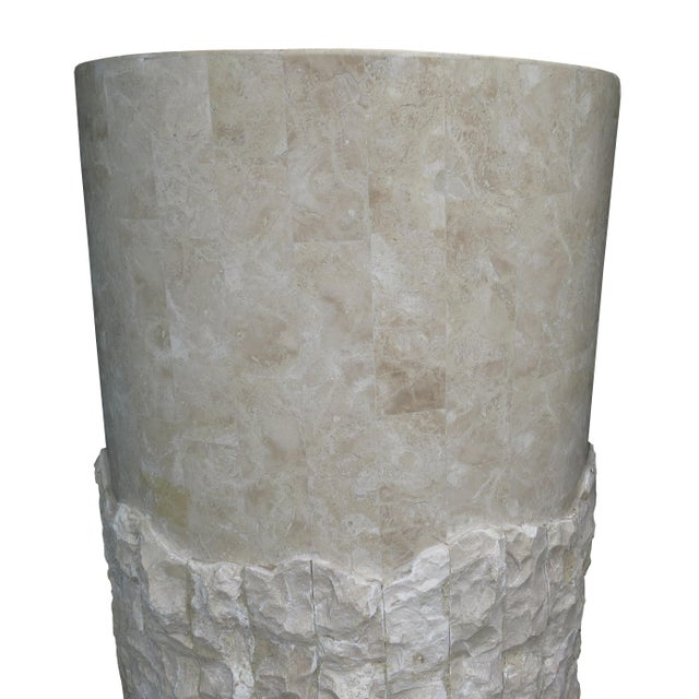 20th Century Vintage Marquis Collection of Beverly Hills Postmodern Tessellated Stone Pedestal / Pedestal Table Base For Sale - Image 4 of 13