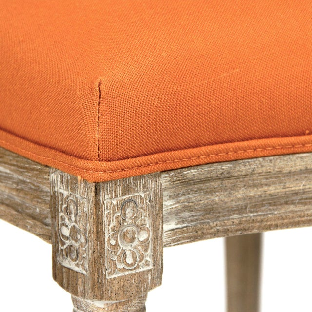 French Country Everest Medallion Tufted Back Side Chair in Orange For Sale - Image 3 of 5