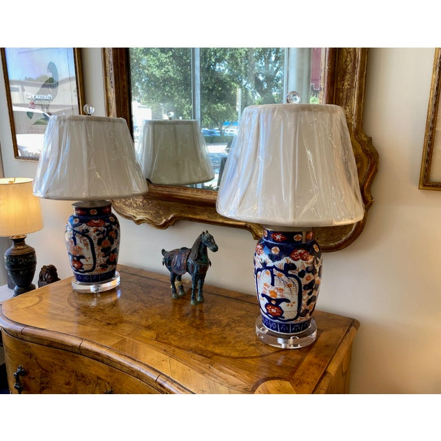 """Imari lamp in classic red and blue on a a pure white background on custom acrylic base with shade. Two available. 6""""..."""