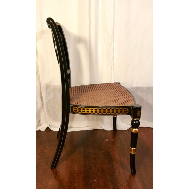 Wood Early 20th Century Hand Painted Black Lacquered Regency Chairs- a Pair For Sale - Image 7 of 11