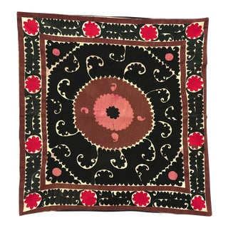 Oversized Vintage Suzani Black, Red and Pink Embroidered Floor / Pet Pillow