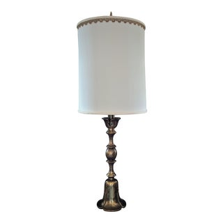 1960's Frederick Cooper Torchiere Antiqued Brass Table Lamp With Silk Shade Hollywood Regency For Sale