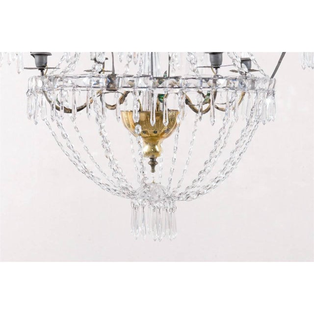 Mid 20th Century Italian Crystal Four-Light Chandelier With Crystal Center Column For Sale - Image 5 of 11