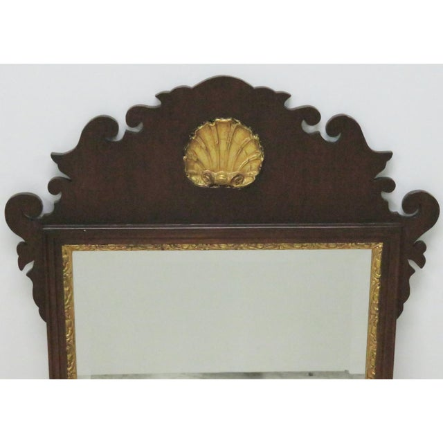 Chippendale Chippendale Style Mahogany Mirror W/ Gilt Shell Motif For Sale - Image 3 of 4