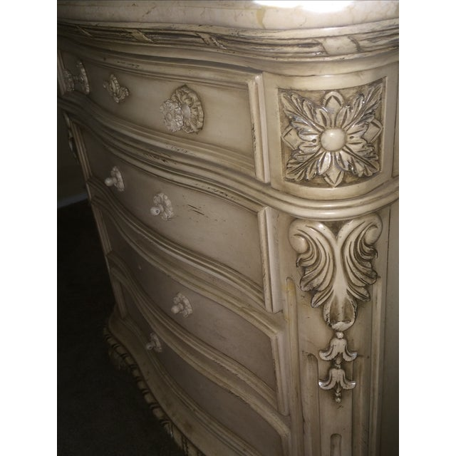 Cream Colored Marble Nightstand - Image 4 of 4
