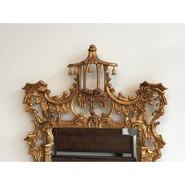 Chinoiserie Temple Bells Carved Wood Mirror - Image 2 of 9