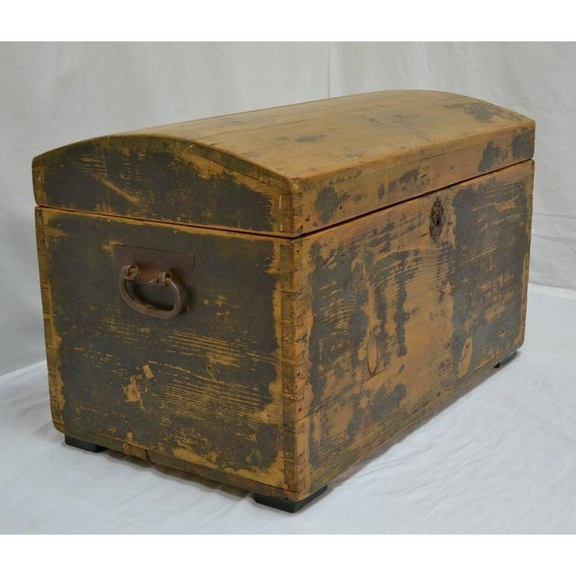 Traditional Pine Painted Dome-Top Trunk For Sale - Image 3 of 10
