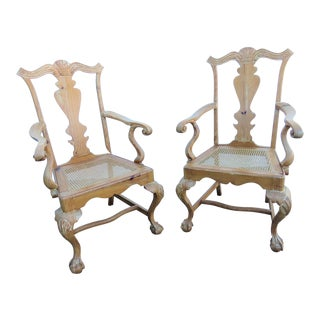 Early 20th Century English Pine Chippendale Carved Arm Chairs - a Pair For Sale