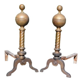 Antique Victorian Cannonball Brass Fireplace Andirons Fire Dogs Log Holders For Sale